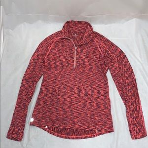 Athleta Coral Orange Crew Neck Long Sleeve 1/4 zip
